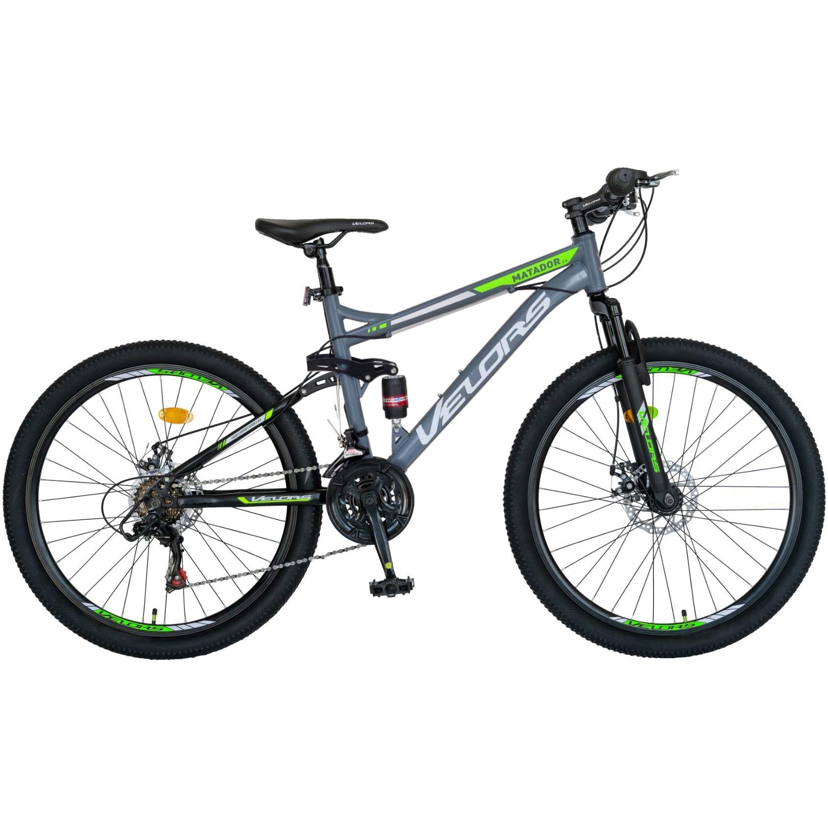 """Fotografie Bicicleta MTB Velors 26"""" V2660D, Shimano Tourney TZ500D, 21 Viteze, Frane pe Disc, Gri/Negru/Verde"""