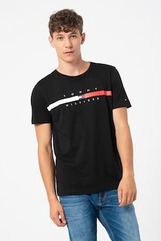 Tommy Hilfiger, Global csíkos organikuspamut póló logóval, Fekete/Fehér/Piros