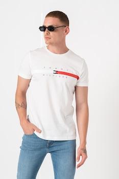 Tommy Hilfiger, Global csíkos organikuspamut póló logóval, Fehér/Piros/Tengerészkék