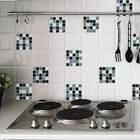 Öntapadós csempe matrica szürke-fekete mozaik márvány, 2 x 30 x 30 cm
