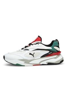 Puma, RS-Fast sneaker nyersbőr részletekkel, Fehér/Zöld/Piros