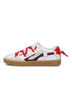 Puma, Oslo City sneaker textilrészletekkel, Fehér/Barna/Piros