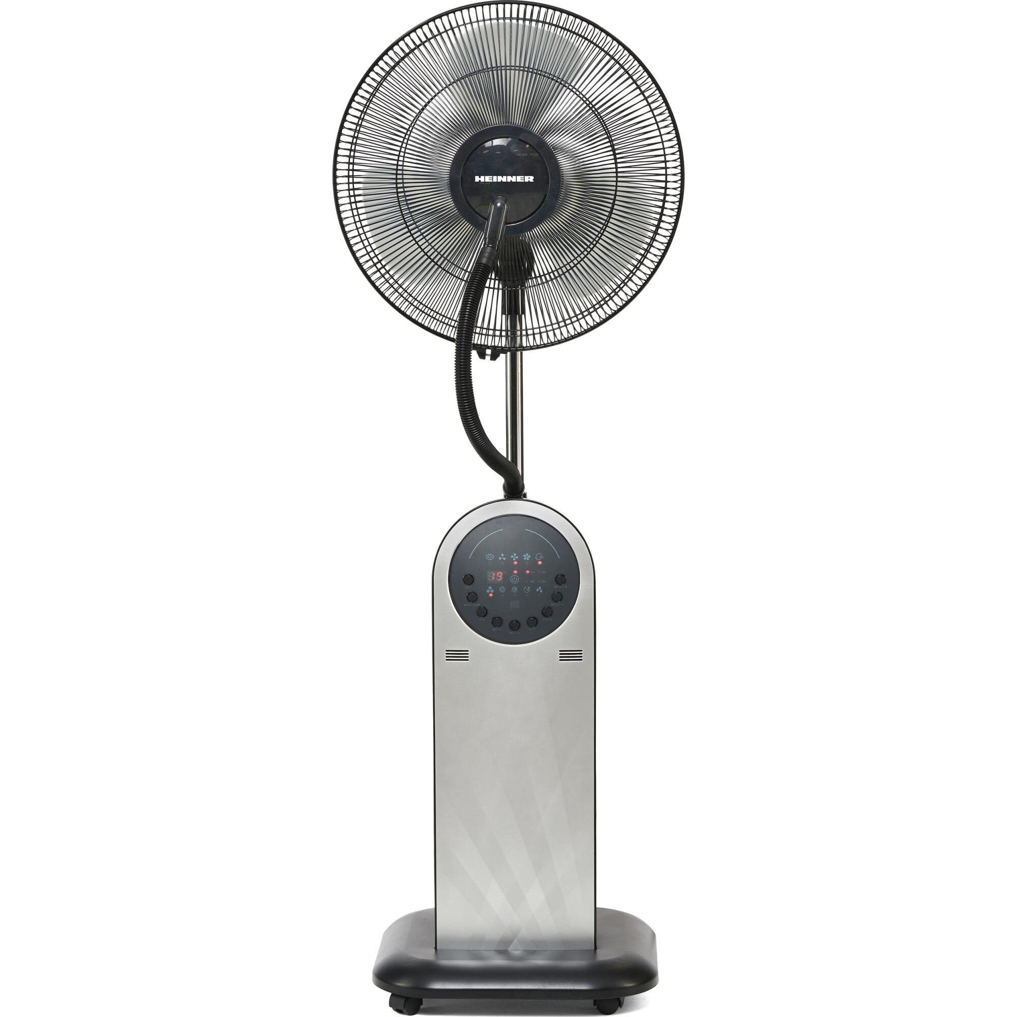 Fotografie Ventilator cu picior Heinner HMF-18GREY, 95 W, Rezervor apa 1.8 l, Telecomanda, Umidificare 360, 3 tipuri de ventilare, Temporizator, Gri