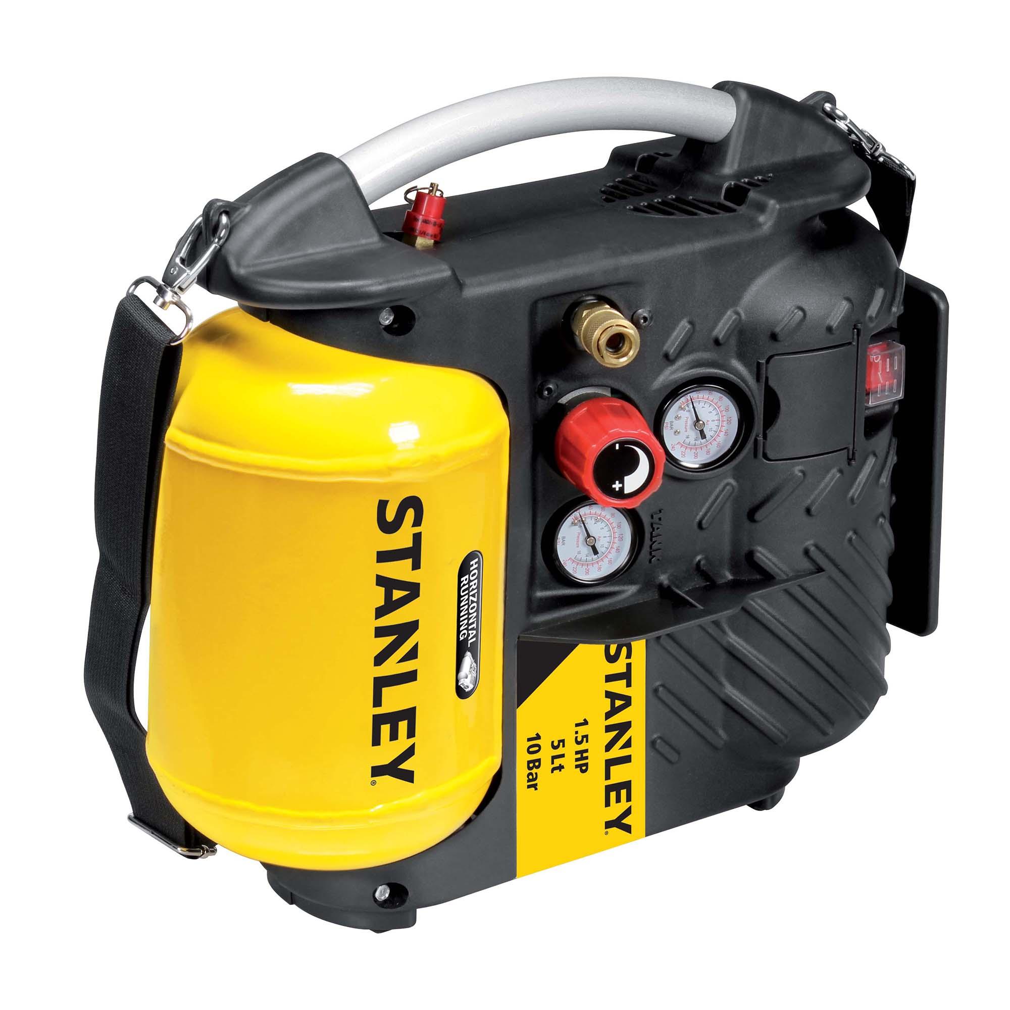 Fotografie Compresor aer fara ulei Stanley, 1100 W, 1.5 Cp, 5 l capacitate rezervor, 10 bar presiune lucru, 180 l/min debit aer