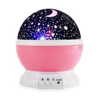 SKYSTAR Éjjeli lámpa forgó csillagos égbolttal, LED éjszakai fény gyermekeknek, USB kábellel - Rózsaszín