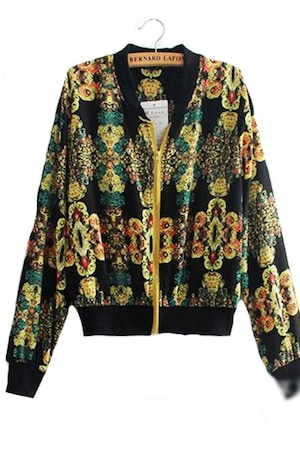 1st fashion Női divat dzseki, Fekete színes motívumokkal, S