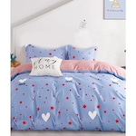 Спален комплект TM Red Love Stars, Фин памук, 4 части