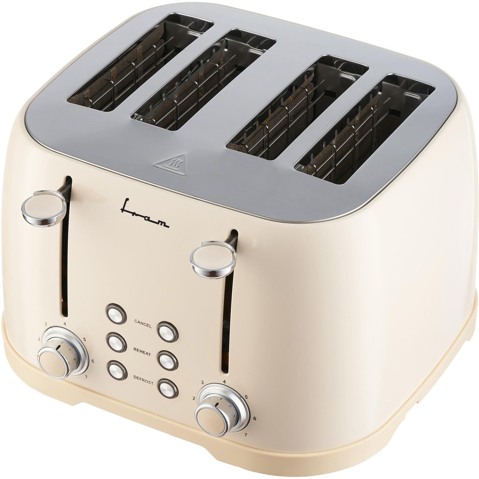 Fotografie Prajitor de paine FRAM FTP-800CR, 1600W, 4 felii, 6 nivele de rumenire, tavita detasabila pentru firimituri, Crem