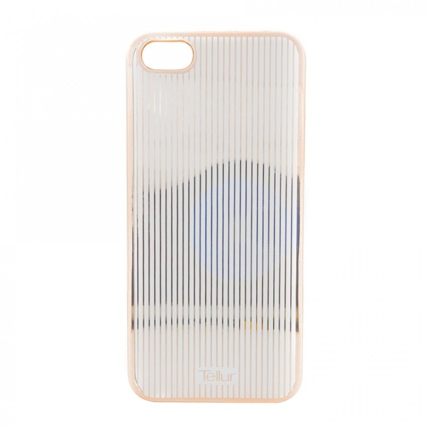 Fotografie Husa de protectie Tellur Cover Hardcase pentru iPhone 5/5s/SE, Vertical Stripes, Rose/Gold