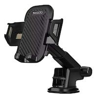 YESIDO Autós tartó telefonhoz, műszerfal / szélvédő, állítható kar, Fekete