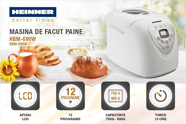 Masina de paine Heinner HBM-690 W, 600 W, 900 g, 12 programe, Alb - eMAG.ro