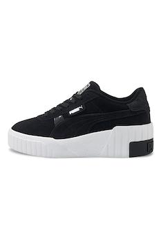 Puma, Cali telitalpú nyersbőr sneaker, Fekete/Fehér