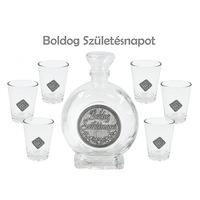Óncímkés Pálinkás készlet 6db pohár 0, 5l palack Boldog Születésnapot fémcímkés