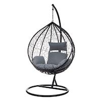 Люлка Palmonix, Модел Sycylia, тип окачен фотьойл, за тераса, двор или градина, с метална рамка и възглавници, Капацитет 150 кг, Черен