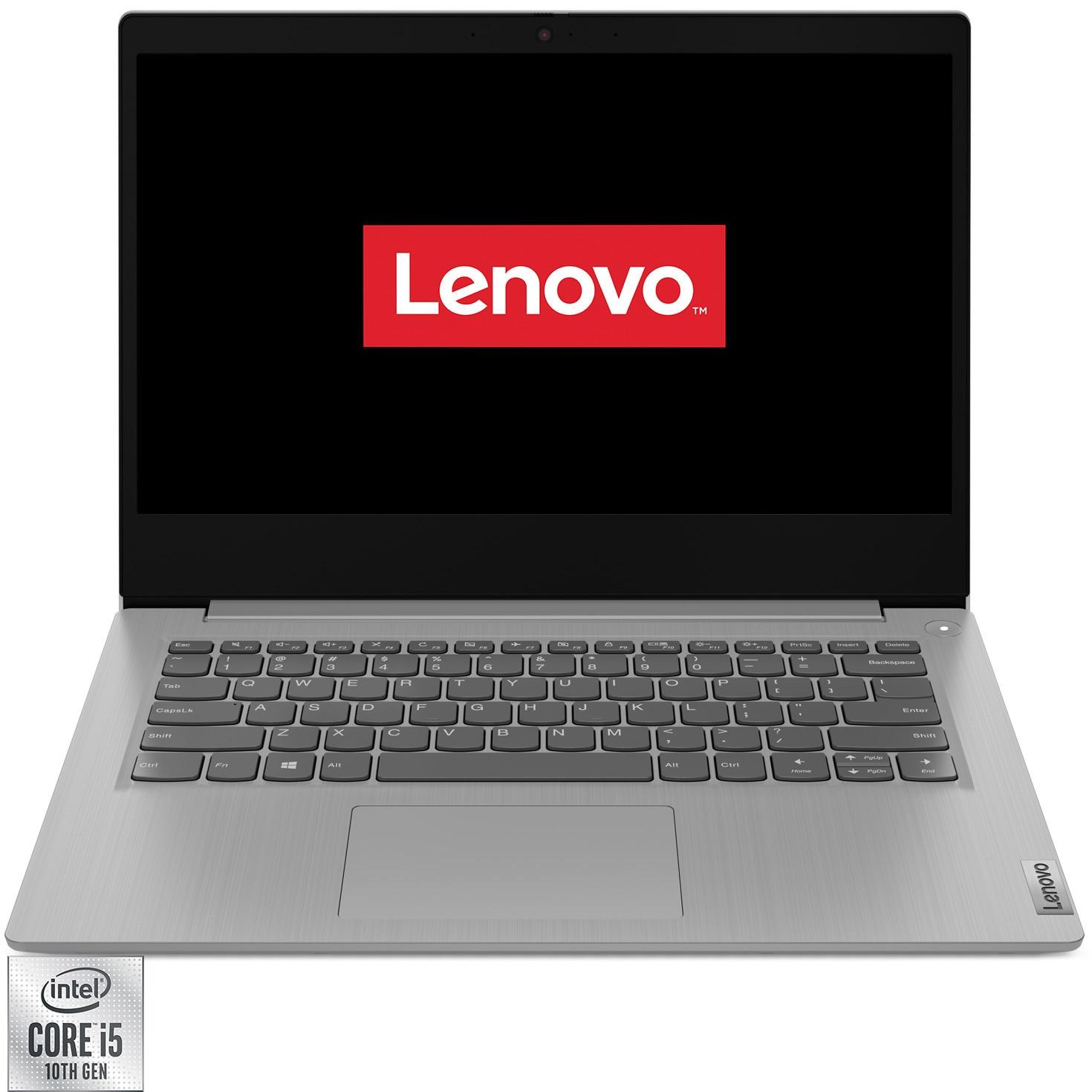 "Fotografie Laptop ultraportabil Lenovo IdeaPad 3 14IIL05 cu procesor Intel Core i5-1035G1 pana la 3.60 GHz, 14"", Full HD, 8GB, 512GB SSD, Intel UHD Graphics, No OS, Platinum Grey"