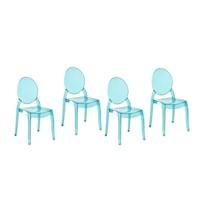 MERTON Áttetsző kék étkező szék szett