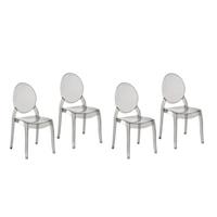 MERTON Áttetsző fekete étkező szék szett