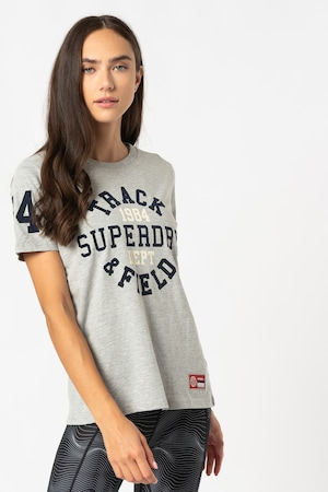 SUPERDRY, Tricou relaxed fit Collegiate Athletic Union, Gri melange/Bleumarin inchis