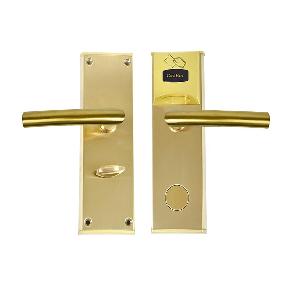 Fotografie Yala control acces hotelier PNI CH2000R Gold, cu cititor de card, deschidere pe partea dreapta