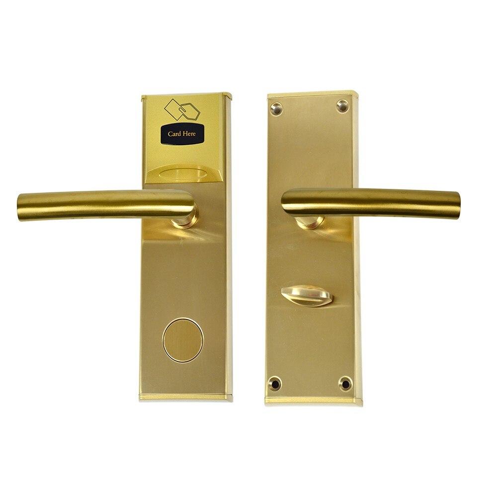 Fotografie Yala control acces hotelier PNI CH2000L Gold, cu cititor de card, deschidere pe partea stanga