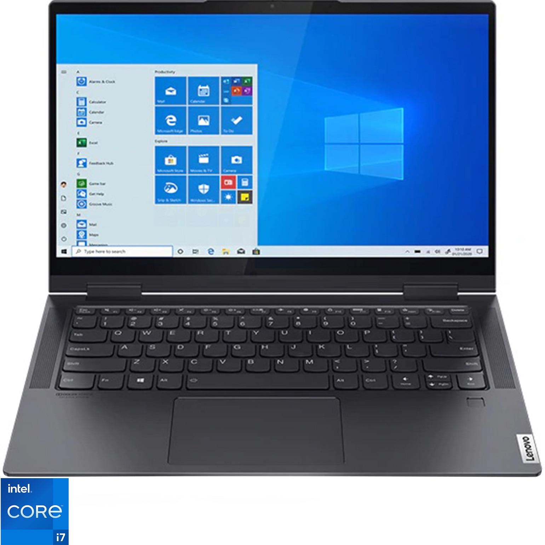 "Fotografie Laptop ultraportabil Lenovo Yoga 7 14ITL5 cu procesor Intel Core i7-1165G7, 14"", Full HD, Touch, 16GB, 1TB SSD, Intel Iris Xe Graphics, Windows 10 Home, Slate Grey"