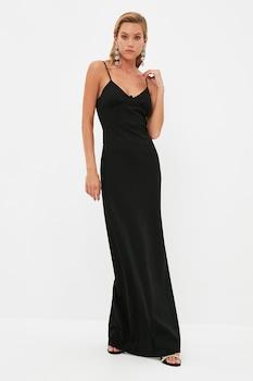 Trendyol, Szűkített fazonú V-nyakú alkalmi ruha oldalhasítékkal, Fekete