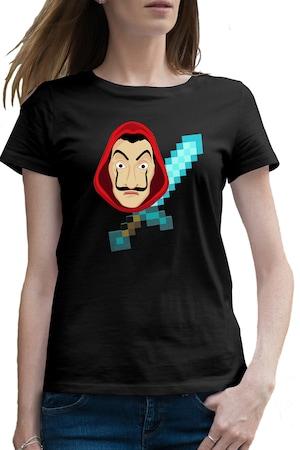 Tricou femei Casa de Papel Minecraft Diamond Sword, Negru