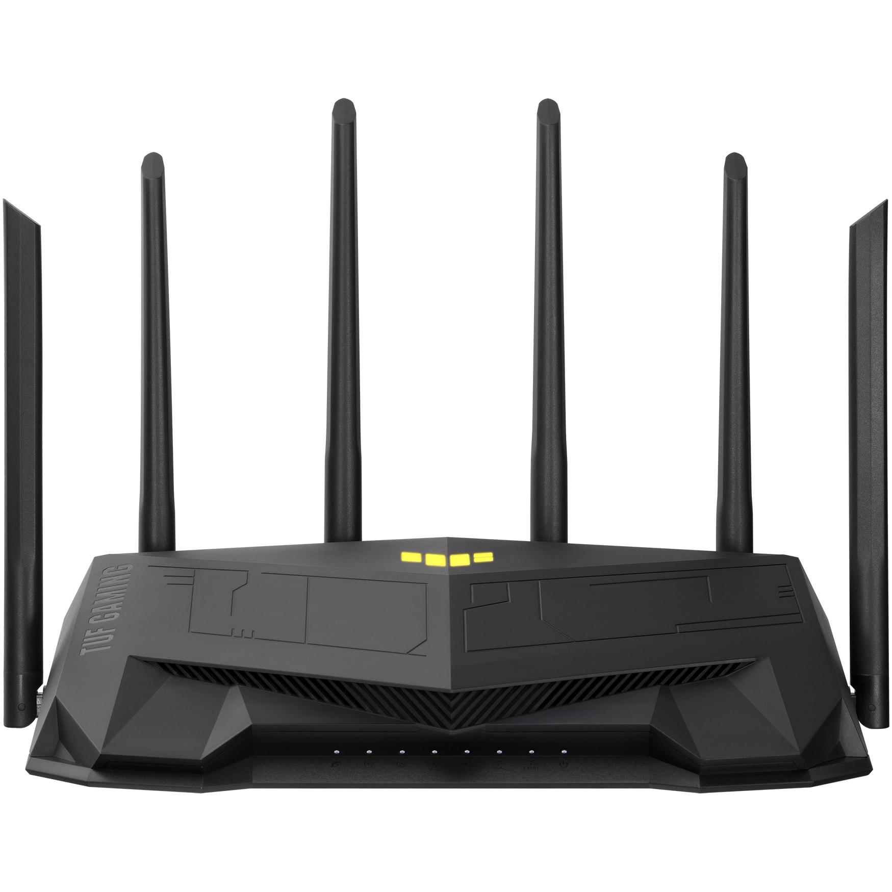 Fotografie Router gaming wireless ASUS TUF-AX5400, AX5400, WiFi 6, MU-MIMO, port gaming dedicat, 6 antene Wi-Fi