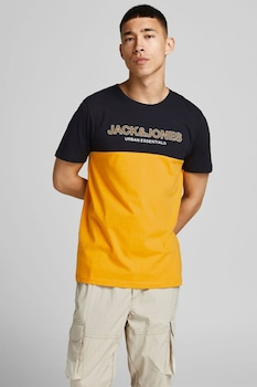 Jack&Jones, Kontrasztos pamutpóló, Narancssárga/Fekete