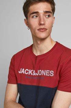 Jack&Jones, Kontrasztos pamutpóló, Piros/Sötétkék