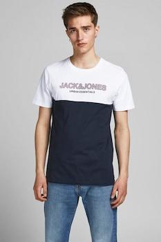 Jack&Jones, Kontrasztos pamutpóló, Fehér/Tengerészkék