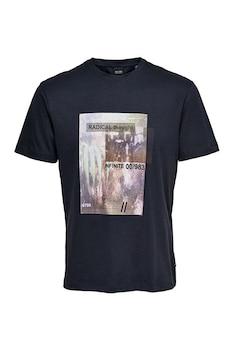 Only & Sons, Mintás organikuspamut póló, Sötétkék