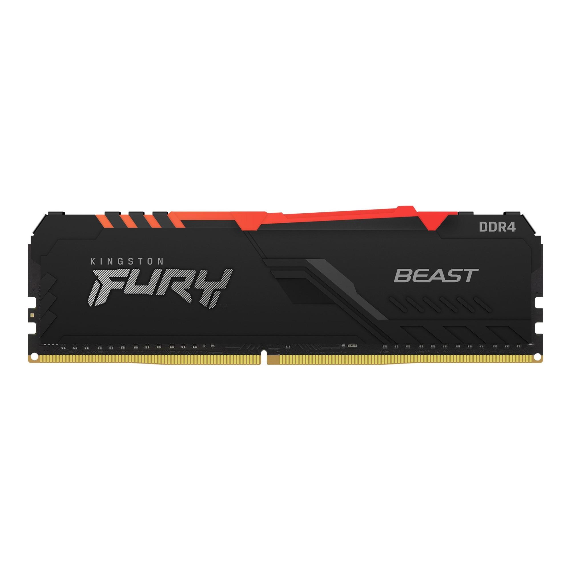 Fotografie Memorie Kingston FURY Beast RGB, 16GB DDR4, 3200MHz CL16