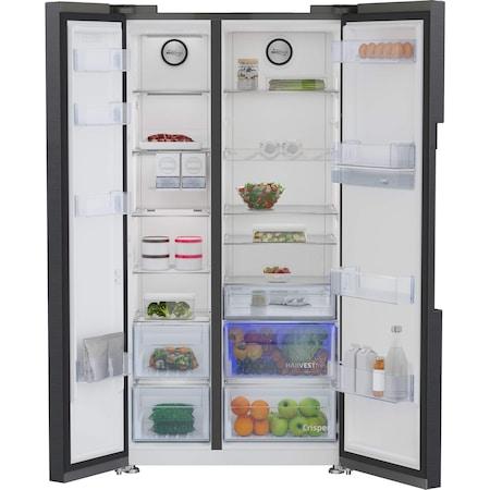 Двукрилен хладилник Side by side Beko GN163130ZGB, 576 л, Клас E, NeoFrost Dual Cooling, HarvestFresh, Инверторен компресор, Диспенсър за вода, H 179 см, Dark Inox
