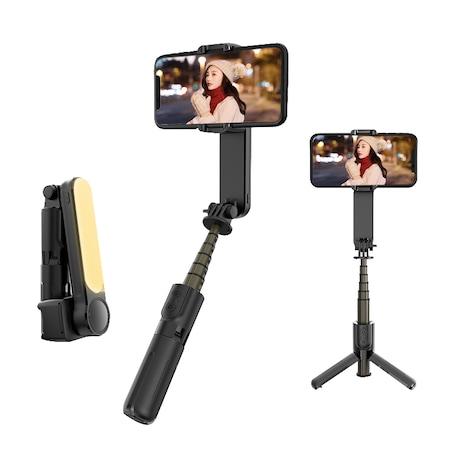 Stabilizator imagine, Sundiguer, Bluetooth, 360 °, LED, Compatibil cu Android / IOS, Negru