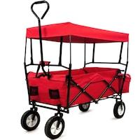 Összecsukható kerti kocsi, eltávolitható tetőzettel, piros, erős szerkezet, zsebek, kemping, strand, vásárlás