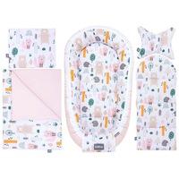 5 darabos babafészek szett, Bellochi (babakosár, fehérnemű, matrac, párna), rózsaszín, sokszínű, 4rest