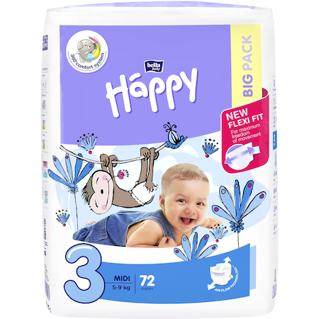 Пелени Happy Midi 3 5-9 кг, 72 броя