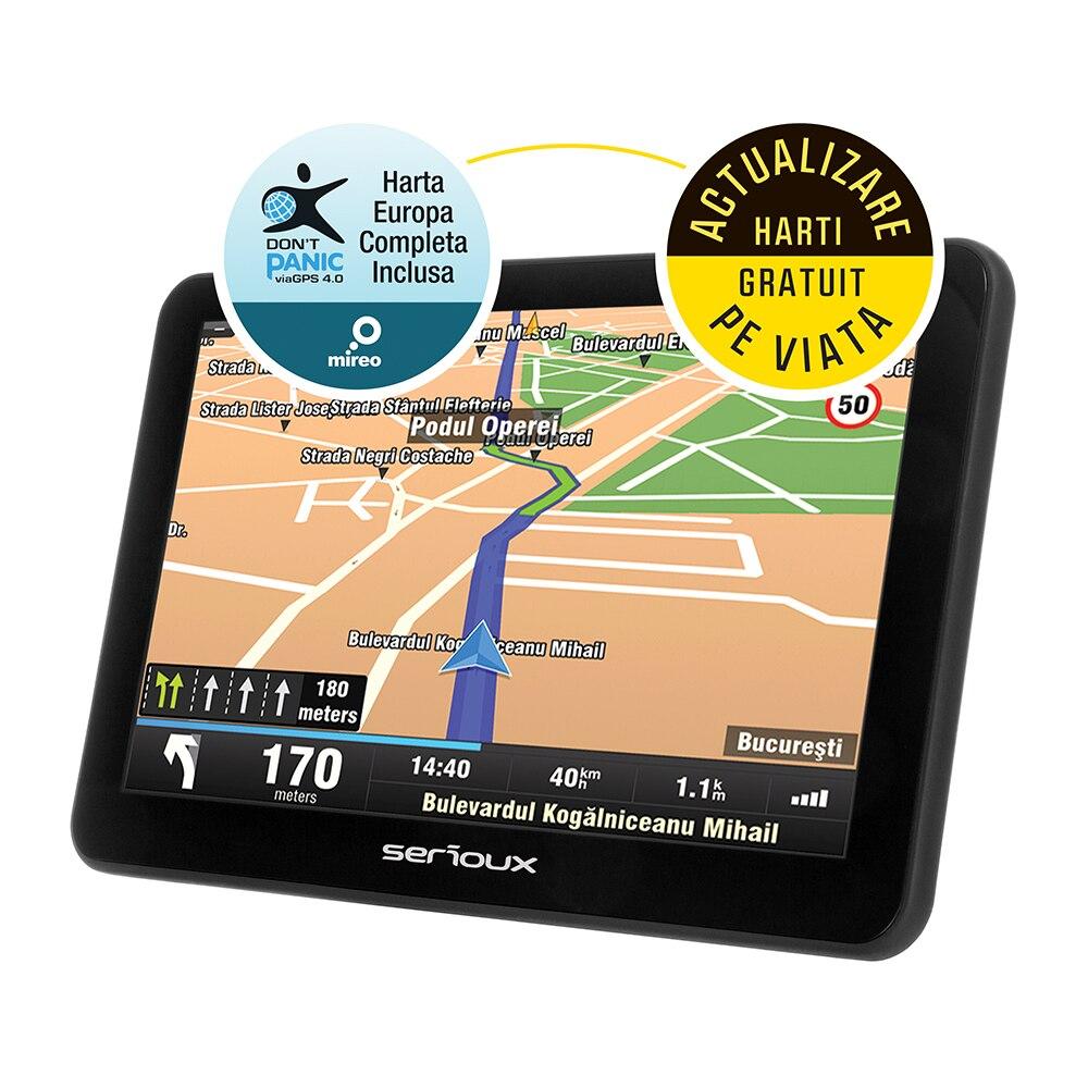 "Fotografie Sistem de navigatie GPS Serioux Urban Pilot UPQ700, 7.0"", harta Europei Mireo Don't Panic + Actualizari pe viata a hartilor, 256MB RAM, Bluetooth,radio FM"