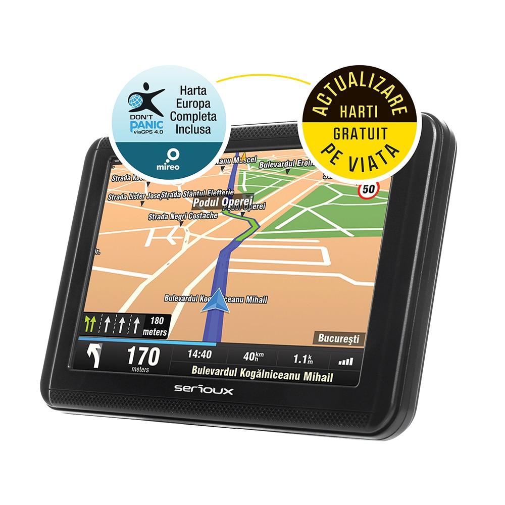 "Fotografie Sistem de navigatie GPS Serioux Urban Pilot UPQ500FE, 5.0"", harta Europei Mireo Don't Panic + Actualizari pe viata a hartilor, 256 MB RAM, radio FM"