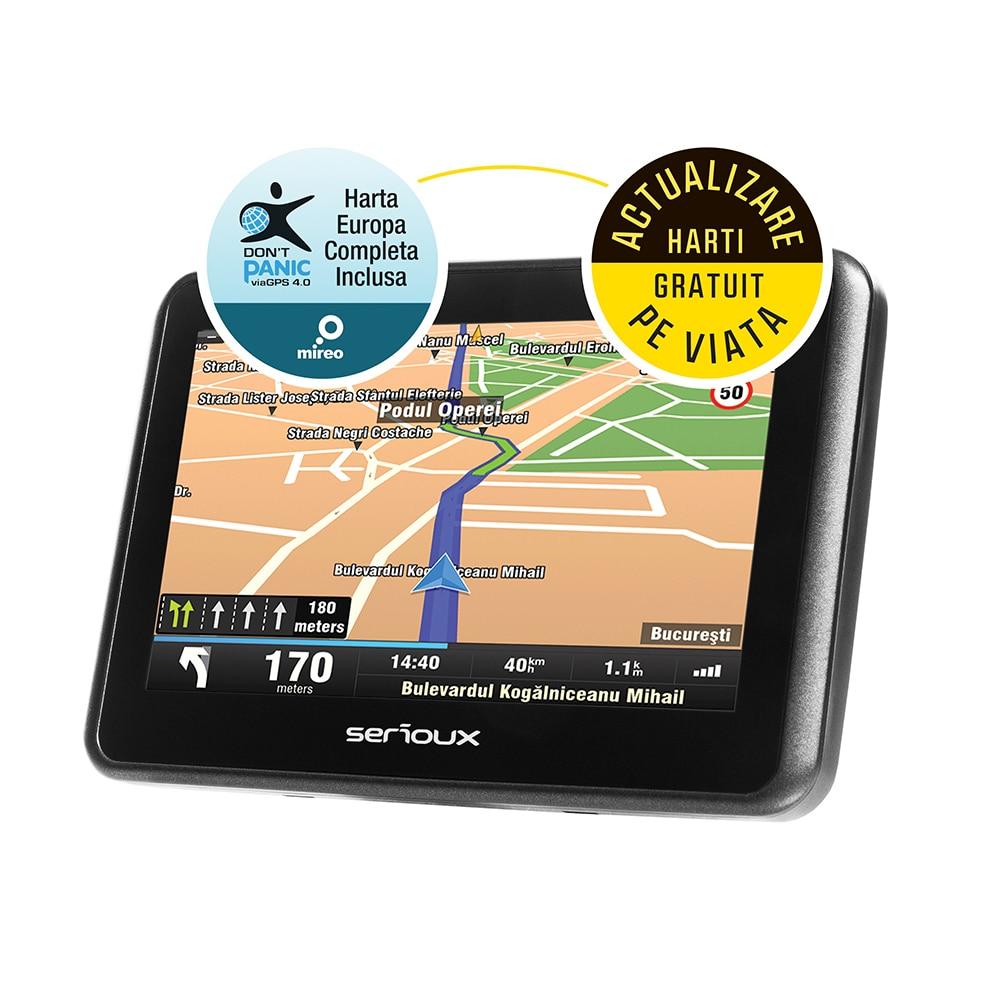 "Fotografie Sistem de navigatie GPS Serioux Urban Pilot UPQ430, 4.3"", harta Europei Mireo Don't Panic + Actualizari pe viata a hartilor, 128 MB RAM, radio FM"