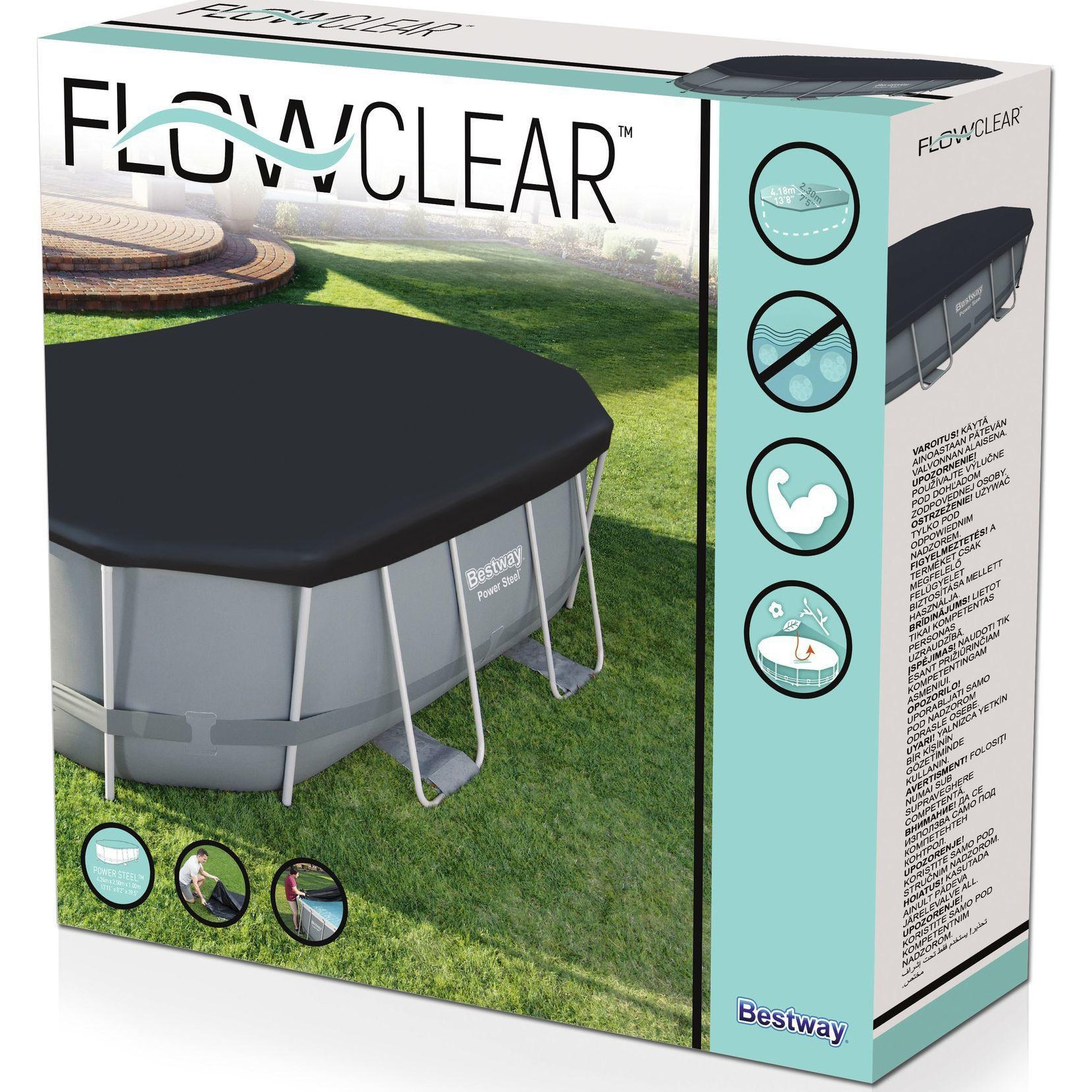 Fotografie Prelata Bestway Flowclear pentru piscina ovala 4.27m x 2.50m x 1.00m, PVC