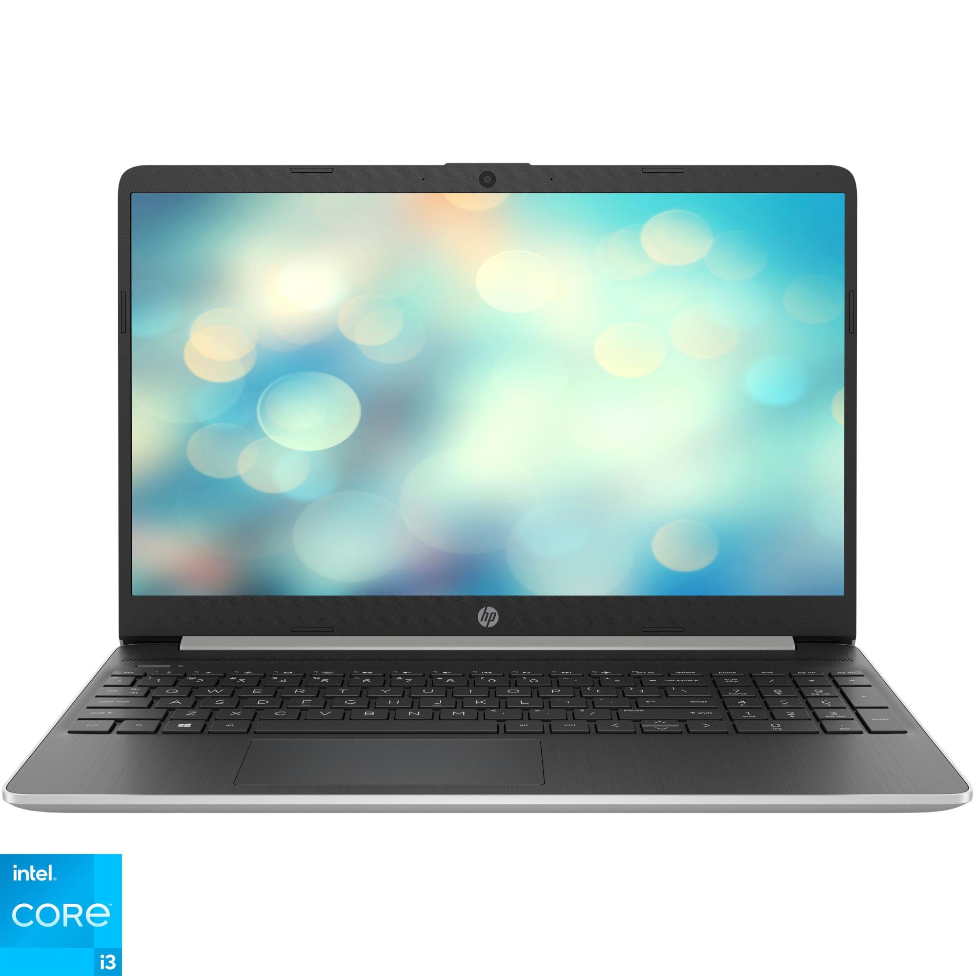 "Fotografie Laptop HP 15s-fq2021nq cu procesor Intel® Core™ i3-1115G4, 15.6"", Full HD, 8GB, 512GB SSD, Intel UHD Graphics, Free DOS, Natural Silver"