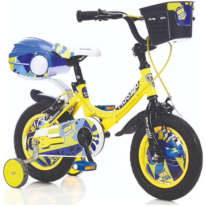 """Fotografie Bicicleta pentru copii Corelli MOOJOO, 12"""", cu accesorii incluse, culoare galben-alb"""