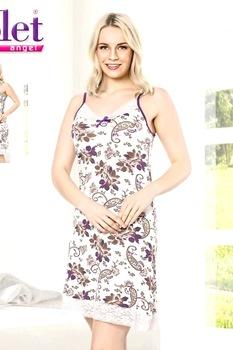 Női pamut hálóing,normál méretállású,széles pántos csipke szegélyű környakú fehér-lila-barna virágmintás,M