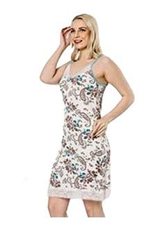 Női pamut hálóing,normál méretállású,széles pántos csipke szegélyű környakú fehér-türkizkék-barna virágmintás,M