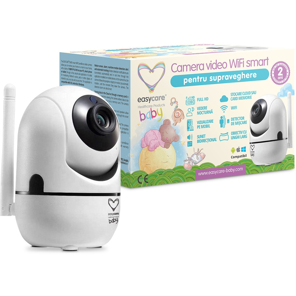Fotografie Camera Video WiFi Smart pentru supraveghere Easycare Baby, senzor de miscare, alarma, Alb