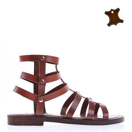 Дамски сандали от кожа Bethan кафяви, 41