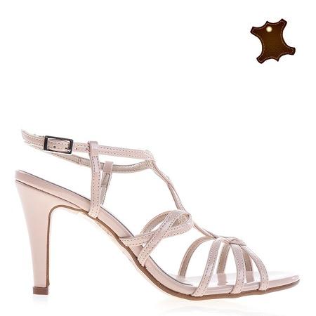 Дамски сандали от кожа Wallis кафяви, 39