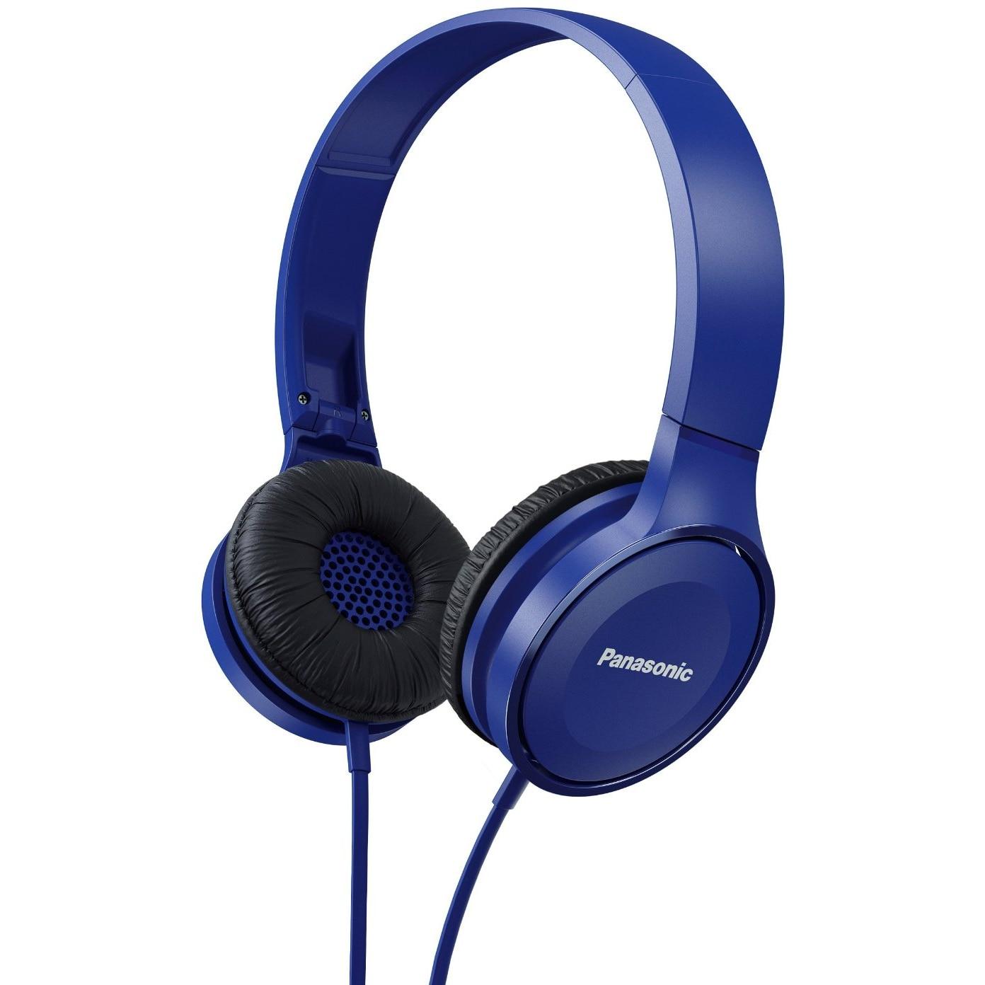 Fotografie Casti audio cu banda Panasonic RP-HF100ME-A, Microfon, Albastru